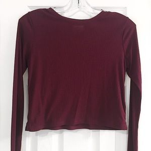 Maroon Long Sleeve Cropped Shirt